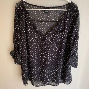 Torrid semi sheer heart print chiffon blouse